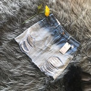 Forever 21 distressed ombre denim skirt NWT sz 27